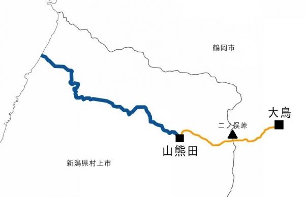 大鳥 山熊田地図 川・二の俣峠入り